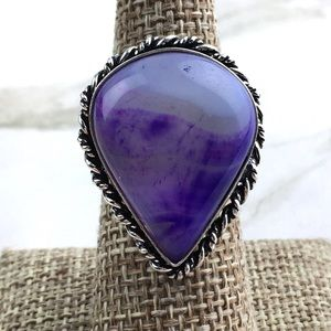 Purple Agate Stone Ring Size 7